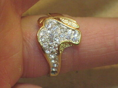 Old Womens Ring Gold Color Diamond Stone Jewerlery Ring Size 9
