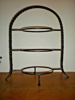 Wrought Iron Pie Cup cake Stand Triple Tier Vintage Heavy Duty