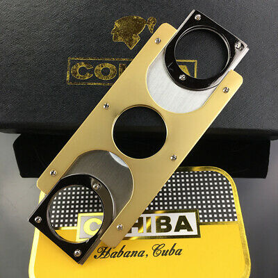 COHIBA Double Blades Stainless Steel Gold Plated Cigar Cutter Pocket Gadgets