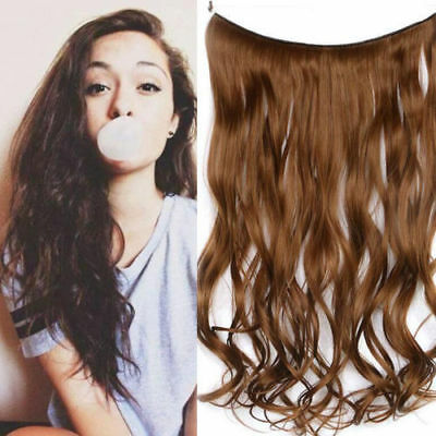 Handmade Halo Invisible Wire Hair Extensions No Clip Curly 100% Remy Human Hair