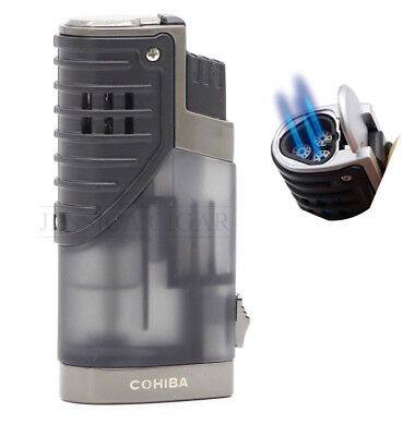 COHIBA Triple Jet Torch Cigar Lighter Butane Refillable Punch Grey