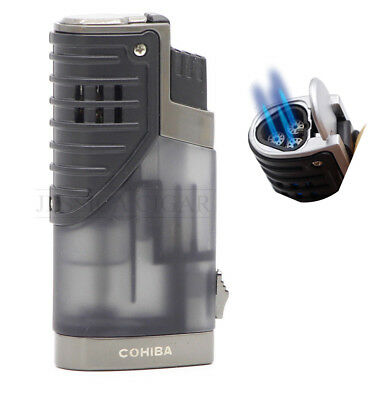 COHIBA Triple Jet Torch Flame Cigar Lighter Butane Refillable With Punch (Grey)