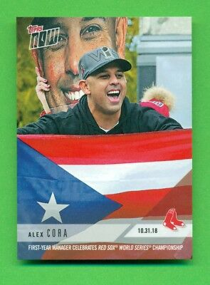2018 Topps Now Card #OS2 Red Sox Manager Alex Cora Celebrates Championship