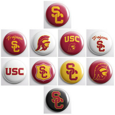 USC TROJANS – college athletic pinback buttons – sports team pins badges