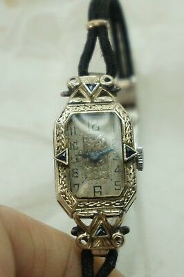 Antique Ladies Wrist Watch American Watch Co 14K White Gold 17 Jewels 20 Grams