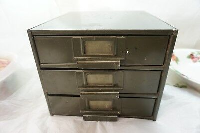 VINTAGE SMALL PARTS CABINET METAL 3 DRAWER INDUSTRIAL 11 x 8.75in ORGANIZER d