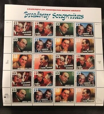 Legends Of American Music Series - Broadway Songwriters '98 Sheet 33 Cent Stamps