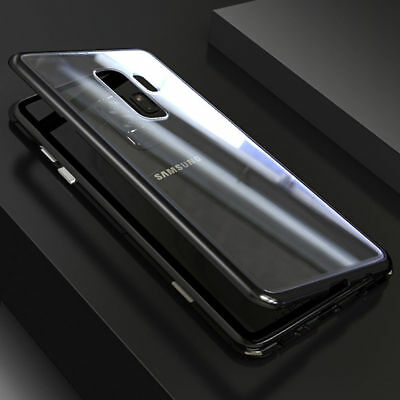 For Samsung Galaxy Note 9 8 S9 Plus A6 Tempered Glass Cover Magnetic Metal Case