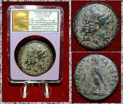 Ancient Coin Of PTOLEMY IV Zeus And Eagle ALEXANDRIA  Beautiful Large Coin!