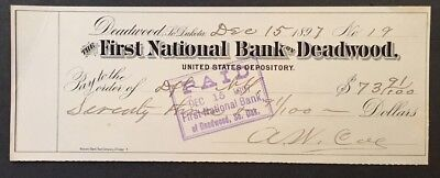 Deadwood, SD - The First National Bank of Deadwood -  Antique Check -1897