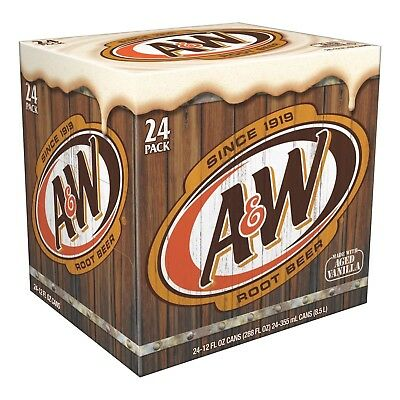 A & W Root Beer (24 x 355ml Cans) Summer Drink A&M Root Beer