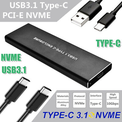 High Speed 10Gbps USB 3.1 Type C to M.2 KEY-M NVME SSD External Enclosure Case