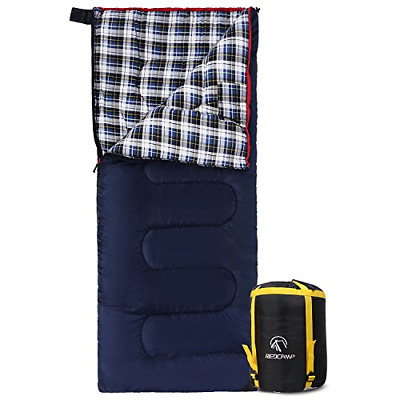 REDCAMP Cotton Flannel Sleeping bag for Camping, 50F/10C 3-season Warm and Blue