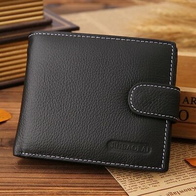 Mens Geniune Leather Wallet With ID Window Zip And Coin Pocket Purse Black Brown