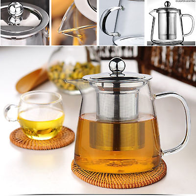 Glass teapot Stainless steel lid with infuser 4 cups Heat Resistant