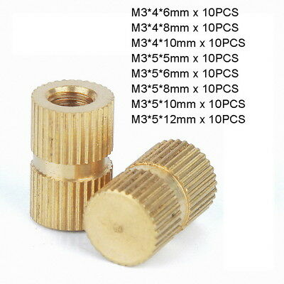 80pc M3 x OD4-5mm Brass Injection Molding Knurled Thread Insert Kit - Blind Hole