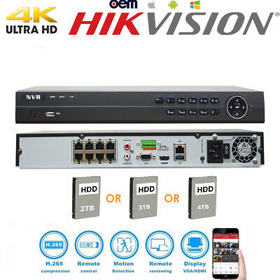 Hikvision Oem 4K 8Ch Nvr 8Mp Of Ds-7608Ni-K2/8P Security Network Video Recorder