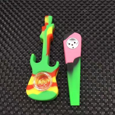 Silicone Hand Smoking Pipe with Cap&Glass Bowl Herb Cigarette Filter Holder 2Pcs