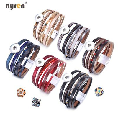 Multi Color Snap Charms Wrap Bracelet Fit 18mm Snap Button 20mm Snap Jewelry 717