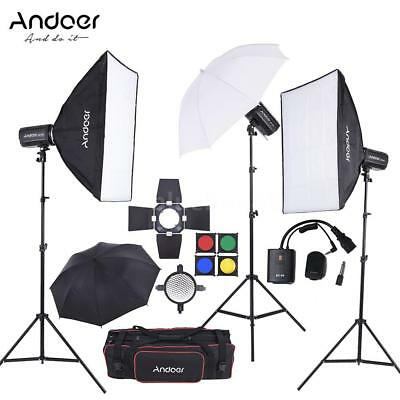 900W 3x Studio Strobe Flash Light Head Kit+Trigger+Softbox+Stand for Photography