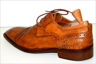 GILBERTO Derby shoes Lace Vintage All Leather Reptile Light Brown T 43 BE
