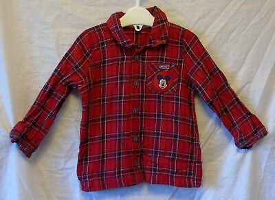 Baby Boys Disney Mickey Red Check Lumberjack Long Sleeve Shirt Age 12-18 Months