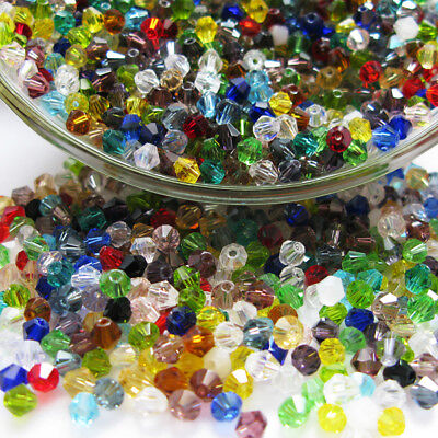 100Pcs Mixed Colors 6mm Loose Spacer Wholesale Bicone Crystal Acrylic Bead Chic