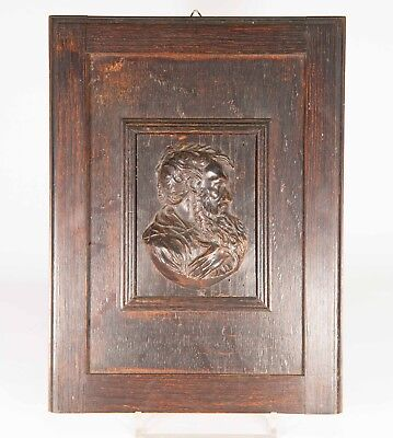 French Antique Hand Carved Panel in Oak with Portrait of a Man