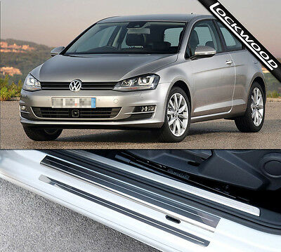 VW Golf Mk7 (Released 2013) 2 Door Stainless Steel Sill Protectors / Kick Plates