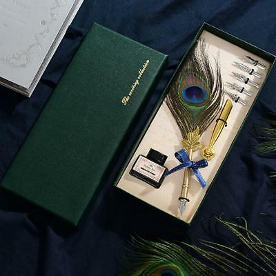 Peacock Feather Metal Nibbed Pen Dip Writing Quill With Ink Steel Tips Gift Box