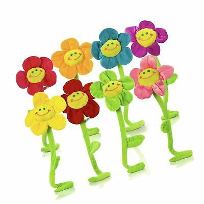 Plush Daisy Flower With Smiley Happy Faces Colorful Soft Bendable Stems Sunfl...