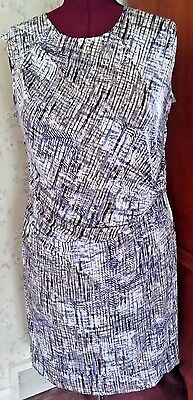 NWT! MINT! NIC+ZOE Luxe Rayon Jersey Side-Ruched Sheath Dress-Plus 1X-Blue/Grey