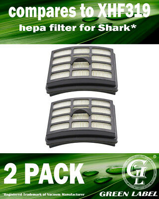 2 Pack XHF319 HEPA Filter for Shark Vacuum Cleaners. By Green Label