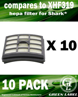 10 Pack XHF319 HEPA Filter for Shark Vacuum Cleaners. By Green Label