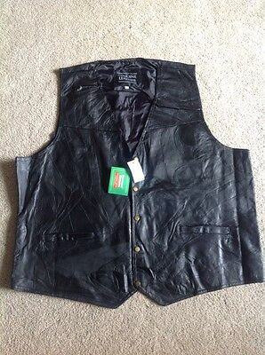 New Giovanni Navarre Italian Stone Design Genuine Leather Black Vest - 4X