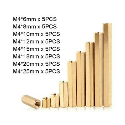 40pc M4 Solid Brass Hexagon Female-Female Spacers Hex Standoff Bolts Kit L6-25mm
