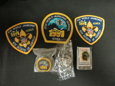 1991 World Jamboree Patch &  US Contingent Pocket Patches & Pins     eb19
