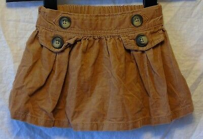 Baby Girls Next Brown Cord Flared Button Detail Skirt Age 9-12 Months