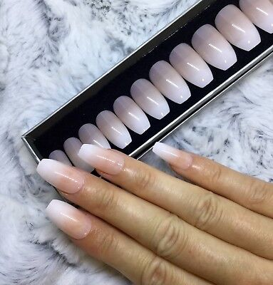 Nude White Ombre False Fake Short Coffin Nails Set