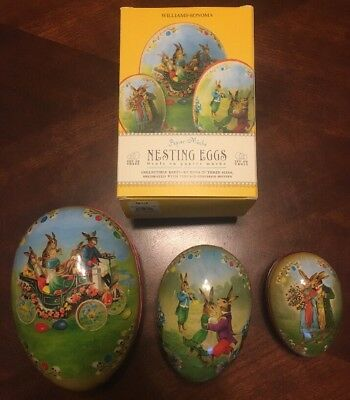 Williams Sonoma Paper Mache Nesting Eggs Easter Bunny Rabbits Made Germany NIB