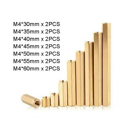 14pc M4 Solid Brass Hexagon Female-Female Spacer Hex Standoff Bolts Kit L30-60mm