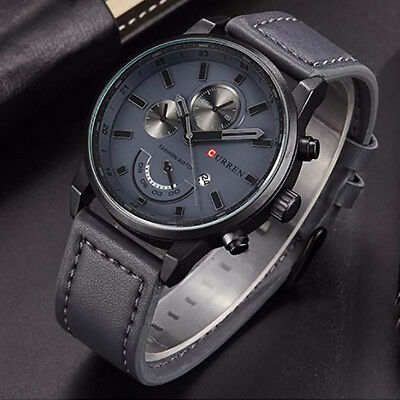 Luxury Gift Men's Leather Band Sports Date Analog Alloy Military Quartz Watch F