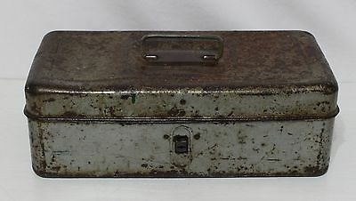 Vintage Western Auto Tackle Tool Box Gray Rust Patina Industrial Storage Décor