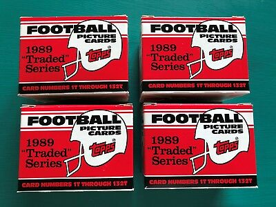 (4) 1989 Topps Traded NFL Football Factory 132 Card Sets Sanders Aikman Rookies