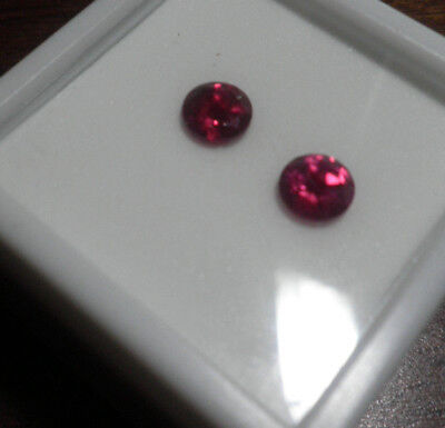 Pair 6mm Lab Created Ruby Round Faceted Loose Red  R8876