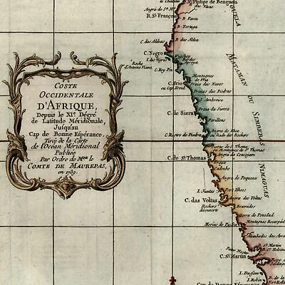 Western Coast of Africa Mataman Good Hope c.1740 antique engraved hand color map