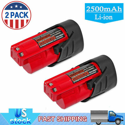 2x 12V Red Li-Ion Lithium Replacement Battery For Milwaukee 48-11-2401 M12 Drill