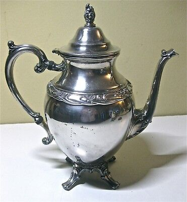 Rogers & Bro Exquisite 4601 Silverplate Footed Hinged Tea Coffee Pot Server
