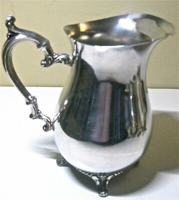 WM Rogers #817 Elegant Ornate Silverplate Footed Water Pitcher Vintage
