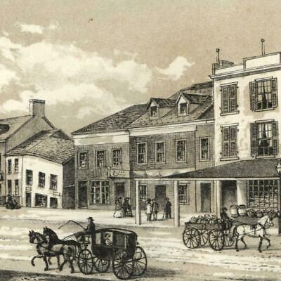 Fourth Avenue w/ horse trolley 1861 New York city view lithographed print